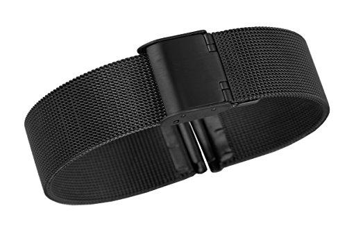 22mm Männer schwarz Premium-Kettenhemd-Edelstahlarmbanduhr Bänder Armbänder für deluxe Schweizer Uhren Netz