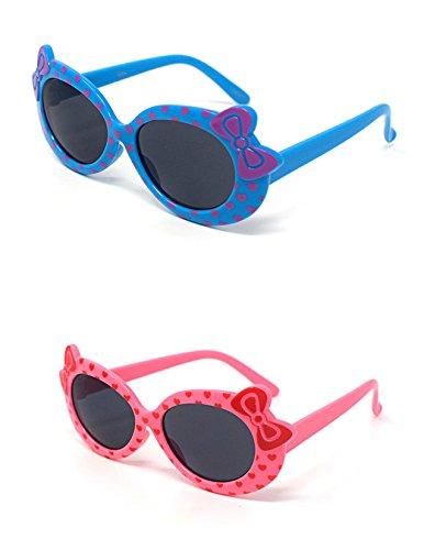 2 x Kinder Kids Mädchen 1 blau 1 rosa stilvolle hallo Kitty Style UV400 Sonnenbrille Schattierungen