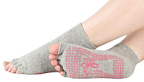 Piarini 1 Paar offene Zehensocken kurz – ABS Socken aus Baumwolle – Yoga-Socken mit offenen Zehen – Pilates-Socken Fitness