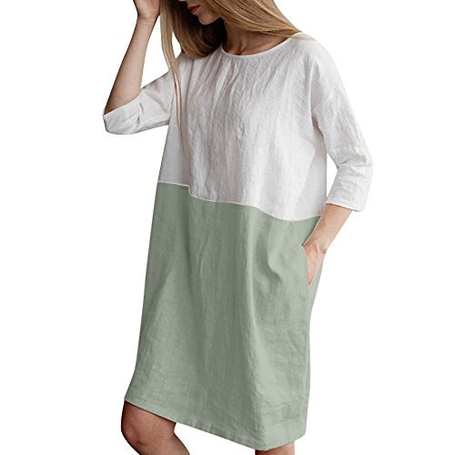 Frauen Baumwolle und Leinen Nähendes T-Shirt Rock locker halbe Hülse lässig einfach Taschen langes Kleid URIBAKY