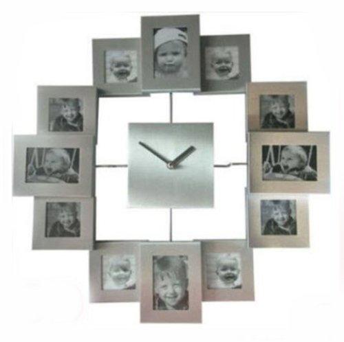 Fotouhr SILBER 12 für Fotos Bilderuhr Collage Uhr Bilderrahmen Wanduhr Uhr Neu
