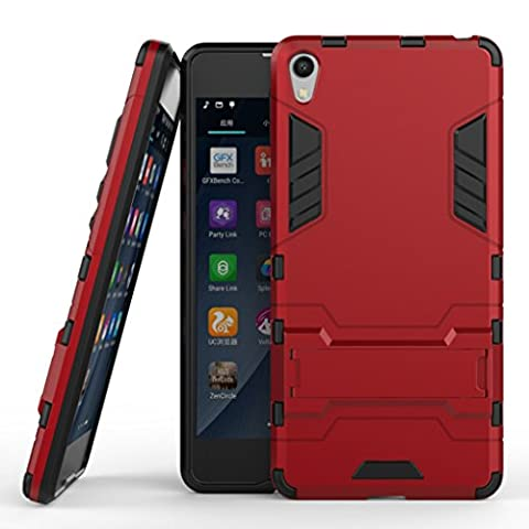 KaiTelin Etui Sony Xperia E5 - 3 Couche Holster Combo Antichoc [Protection Goutte] Soutien Hard Cover Case pour Sony Xperia E5 - Rouge
