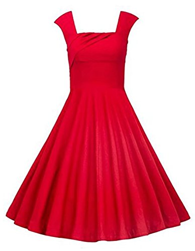Oriention Damen 50er jahre Kleider Audrey Hepburn Vintage Rockabilly Party Cocktail Abendkleider (42,Rot-733) (Tee Schädel-womens)