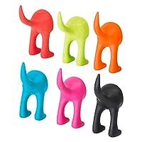 Ikea BASTIS Dog Tail Wall Hooks/Hangers 12cm - Red/Green/Blue/Pink/Orange/Black - Full Set of 6