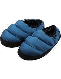FakeFace - Pantuflas de interior para hombre/mujer, (cálidas, impermeables, antideslizantes, calzado de peluche, cómodas y ligeras), Bleu Foncé, 44-45