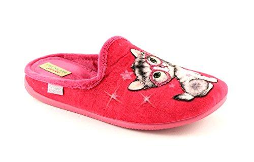 LAIT Grünland chaton pantoufles de tissu CI0854 fuchsia enfant Rose