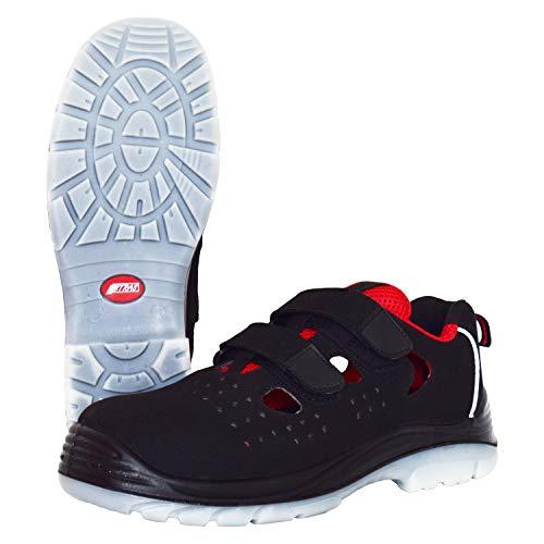 Nitras 7422 Arbeitsschuhe Micro Step Summer - Sicherheits-Sandale S1P für Herren Damen - Sicherheitsschuhe Arbeitsschuh mit Zehenkappe - Schwarz-Rot Größe 45 -