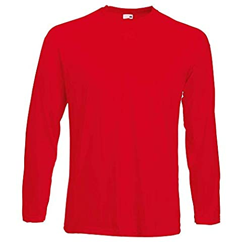 Fruit of the Loom - T-Shirt à manches longues - Homme - Rouge - Rouge - L