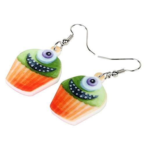 ZHUBAOO Ohrring Acryl Halloween Happy Monster Cupcake Ohrringe Baumeln Mode Lebensmittel Schmuck Für Frauen Mädchen Weiblichen Charme
