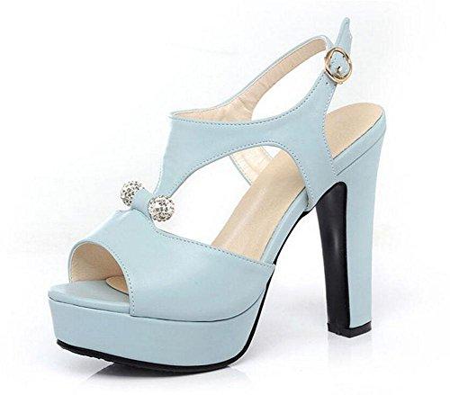 Salto Sandálias Tamanho Damas Impermeáveis Bombas Grande Cinta plataforma Azul De Sapatos Ocos Romanas Alto Tornozelo Toe Pio 6FxYxIqC