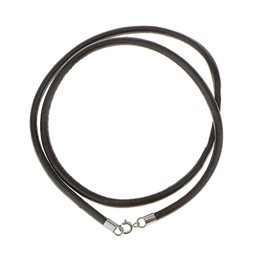 Collana Corda Uomo Nacklace Pelle Nera Cavo 3mm In Argento Sterling 17,5 Pollici