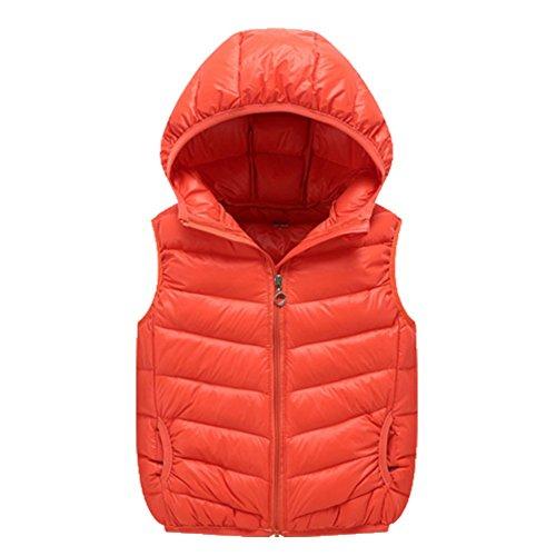 OHmais Kinder Unisex Jungen Mädchen Winter Daunen weste Steppweste Kapuze kurz Weste Outwear Jacke Orange