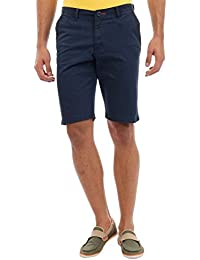 Sting Navy Blue Solid Slim Fit Stretchable Cotton Shorts