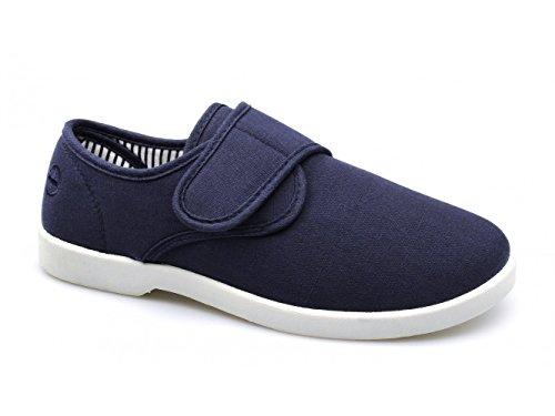 Dr Keller SHIP Herren Leinwand, weite Passform, Klettverschluss, Deck Shoes-Navy Dunkelblau