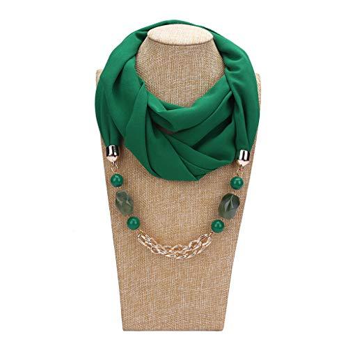 uen Einfarbig Geometrische Perlen Stein Anhänger Chiffon Schal Metallkette Charme Halskette Kragen Ethnischen Stil Infinity Circle Loop Sun Proof Schal - Grün ()