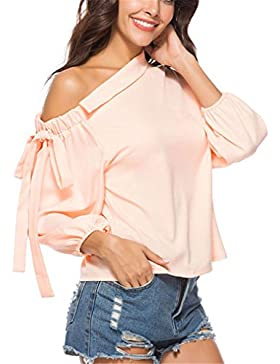 Pink One Shoulder Blouse Shirt Tops de Moda para Mujer Spring Summer Ladies Tie 3/4 Sleeve Elegant Blouse