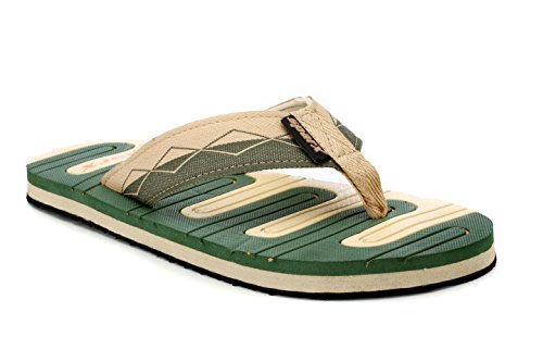 Sparx Men's Olive Beige Canvas Hawaii House Slippers (SF0036G)-8 UK  available at amazon for Rs.379
