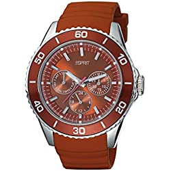 Esprit Women's Deviate Quartz Watch with Red Dial Analogue Display and Red Leather Strap ES103622002