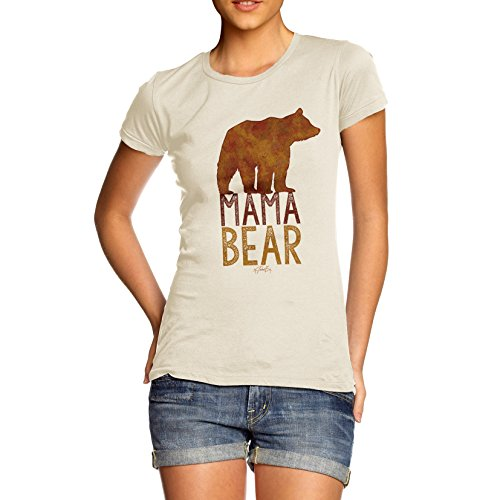 TWISTED ENVY Mama Bear Silhouette Women's Funny 100% Cotton T-Shirt, Crew Neck, Comfortable and Soft Classic Tee with Unique Design
