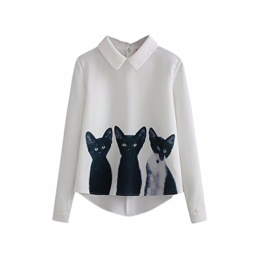 Groß Und Schlank Golf-sport-shirt (Kanpola Damen T-Shirt Katzen Elegant Chiffon Tops Langarm Casual Bluse Shirt Hemd (S, Weiß))
