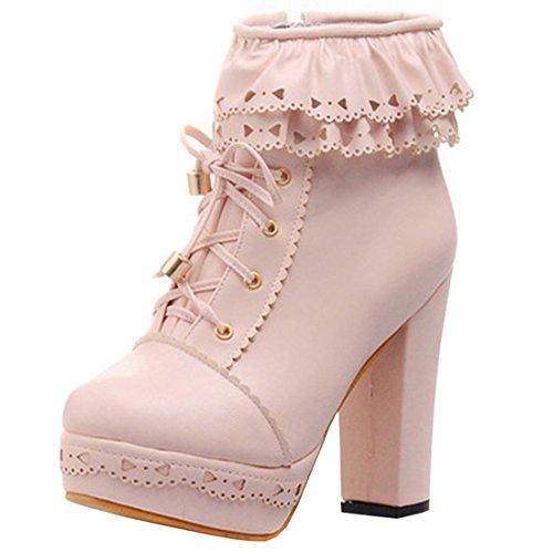 Süße High Heel (Artfaerie Damen Plateau Ankle Boots Blockabsatz High Heels Stiefeletten mit Schnürung und Reißverschluss Süße Lolita Schuhe(EU 41,Rosa))