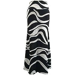 DianShao Mujer Cintura Alta Faldas Largas Falda Vuelo Rayas Vestidos De Fiesta 3XL
