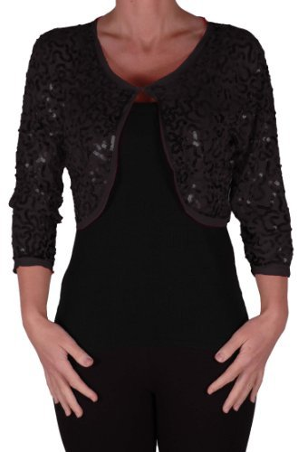 EyeCatch - Scarlett Sequin Chiffon Long Sleeve Top Bolero Shrug Cardigan Black Medium -
