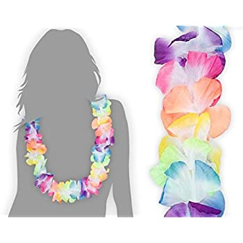 plus récent e109b d9ad3 Lot de 24 collier hawaien 'HK-02' Hawaïen multicolore textile coloré Hawaï  hawaii fleur coloré ambiance tropique déguisement soirée hawaienne ...