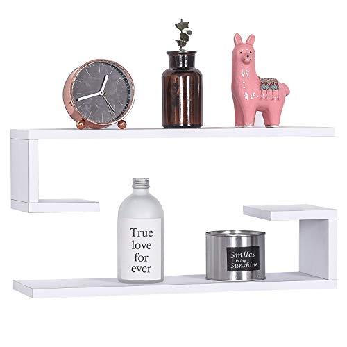 Eugad 0209qj mensole da muro bianche scaffali pensili a parete mensola libreria design moderno in forma l in legno decorazione per soggiorno camera da letto