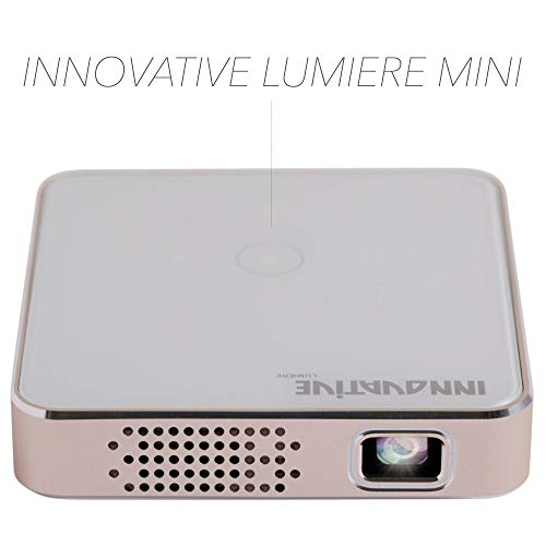 INNOVATIVE LUMIERE Mini Pocket Cinema Edition - 1080p Full HD Multimedia LED DLP Pico Projector - 200 cm 80    - HDMI  USB  Micro SD - Built-in Speaker and Rechargeable Battery Portable Projector  White Gold