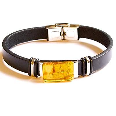 Bracelet en Cuir Ambre Cadeau Pour Elle et Lui