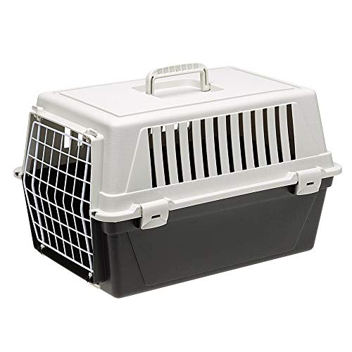 Ferplast Transportbox Atlas 10 für Hunde und Katzen bis zu 5 kg - Stabile Tragebox in Schwarz mit Weiß - inkl. ergonomischem Griff - Maße: 48 x 32,5 x 29 cm