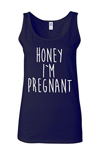 Honey I Am Pregnant Surprise Novelty White Femme Women Tricot de Corps Tank Top Vest Bleu Foncé