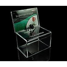 (pack de 2 unidades) Transparente Cajas de Caridad acrílico/Caja de donación Urnas/Caja de billete/Caja de Votación Sugerencia /Caja Comentarios - Caja de bloqueo con 2 llaves Urna para votación/sugerencias/sorteos de metacrilato