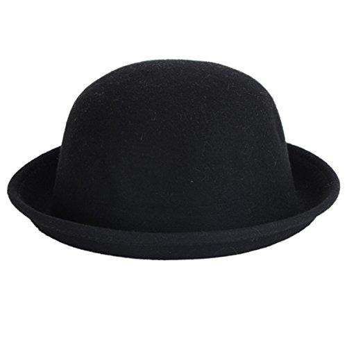 ECYC Frauen Vintage Wolle Runde Fedora Cloche Cap Wolle Hut, (Schwarz Cloche Hut)