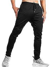 EKLENTSON Pantalones de Jogger de algodón con Ajuste elástico para Correr, con Bolsillos con Cremallera