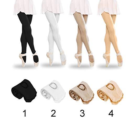 Tubwair Damen Ballett-Strumpfhose, Damen, Mädchen, Basic, Cabriolet, Übergang Ballett-Tanzstrumpfhose, nahtlos, Größe L, Weiß - 2