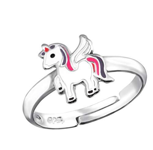 LRP_ Anillo de unicornio para niña, plata de ley 925, ajustable, talla única, unicornio
