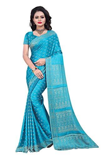 Trendofindia Indischer Bollywood Fashion Sari Stoff Damenkostüm Kleid Hellblau CA112