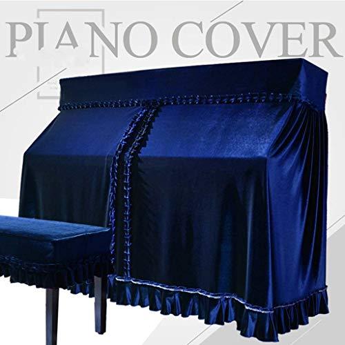 Pleuche Piano Dust Cover Verziert Mit Makramee Schützt Gegen Staub Und Kratzer Upright Piano-Abdeckung (118-133 Model), Klavier-Tastatur Reinigungspflege ( Color : Blue , Size : 153x34x120cm+36x76cm ) -