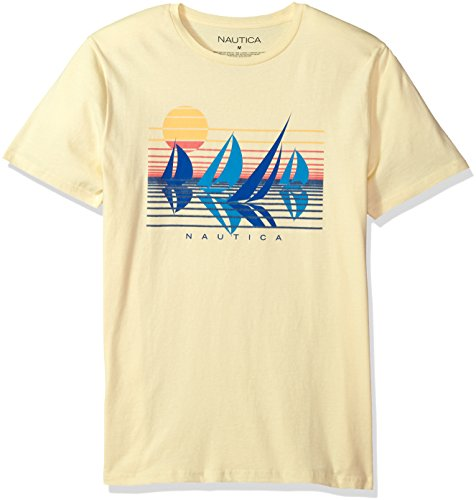 Nautica Herren Short Sleeve Signature Graphic Crewneck T-Shirt, French Vanilla, Mittel -
