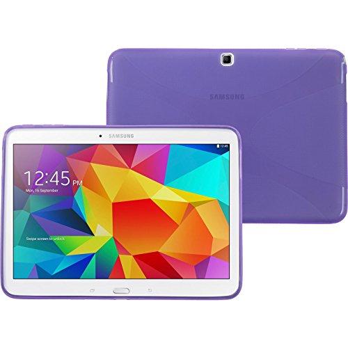 PhoneNatic Case kompatibel mit Samsung Galaxy Tab 4 10.1 - lila Silikon Hülle X-Style + 2 Schutzfolien - Galaxy Lila Case Tab Samsung 2