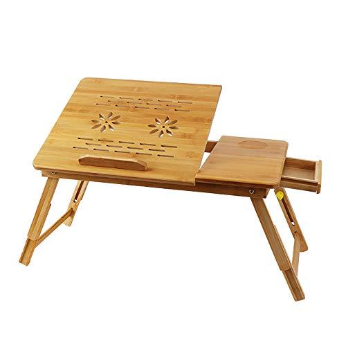 QJJML Zusammenklappbarer Computertisch, Bambusbett, Einfache Notiz, Computertisch, HöHenverstellbarer Schreibtisch,B-54CM