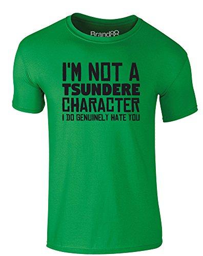 Brand88 - Tsundere Character, Erwachsene Gedrucktes T-Shirt Grün/Schwarz