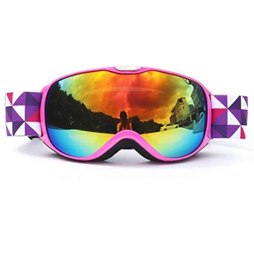 JBHURF Kinder-Doppelschicht-dauerhafte Anti-Fog-Bergsteigen-Schutzbrille Winter-Ski-Schutzbrille für Männer und Frauen (Farbe : D) (Männer-ski-schutzbrillen)