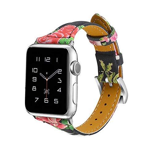 vialavida kompatibel Watch Armband 38mm/40mm Frauen Männer,Slim Echtes Leder Uhrenarmband Ersatz Armband Sport Strap für Iwatch Series 4 3 2 1, Nike+, Edition, Floral (Für Sport-uhren Männer Nike)