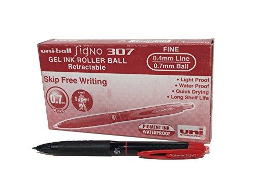 Penne gel UMN-307 Signo 307 RT, inchiostro gel rosso, tipo roller, scatola da 12 pezzi
