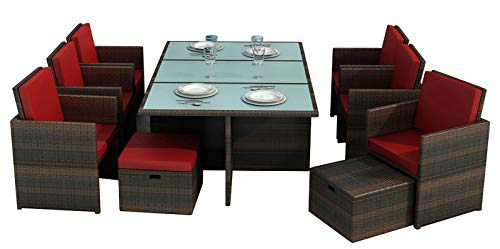 Jet-Line Gartenmöbel Bali braun rot II - Aluminium Essgruppe Tisch sechs Stühle, Hocker, Glas, Sitzkissen Rattan Polyrattan (Sechs Stühle)