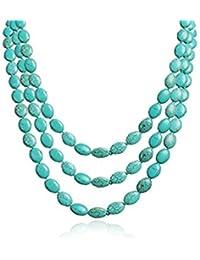 TreasureBay impresionante three-strand turquesa Gemstone cuentas collar–presentado en una bonita caja de regalo