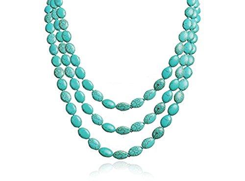 14848c1de424 TreasureBay impresionante three-strand turquesa Gemstone cuentas collar –  presentado en una bonita caja de
